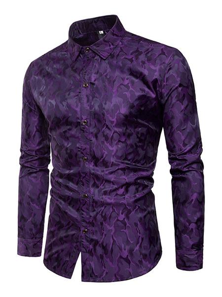 Milanoo Burgundy Men Shirt Print Turndown Collar Long Sleeve Cotton Men Spring Top