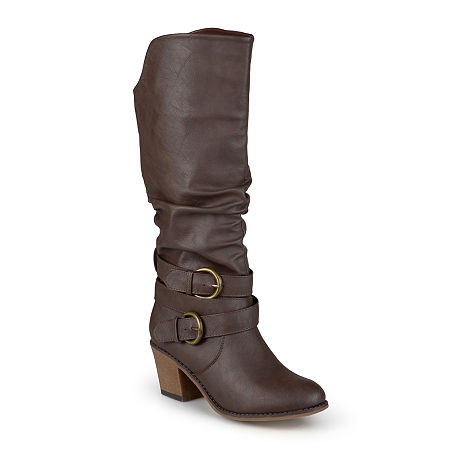 Journee Collection Womens Late Wide Calf Riding Boots, 6 Medium, Brown