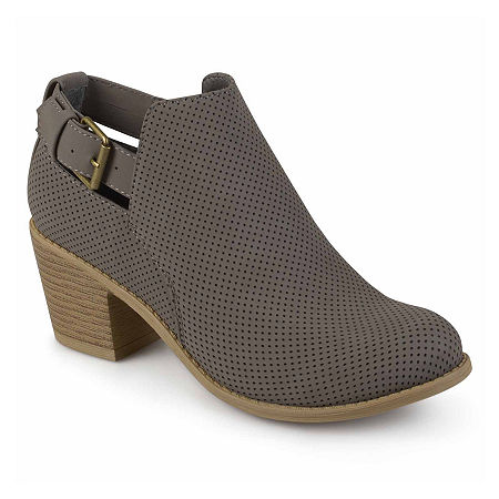 Journee Collection Womens Averi Booties Stacked Heel, 12 Medium, Gray