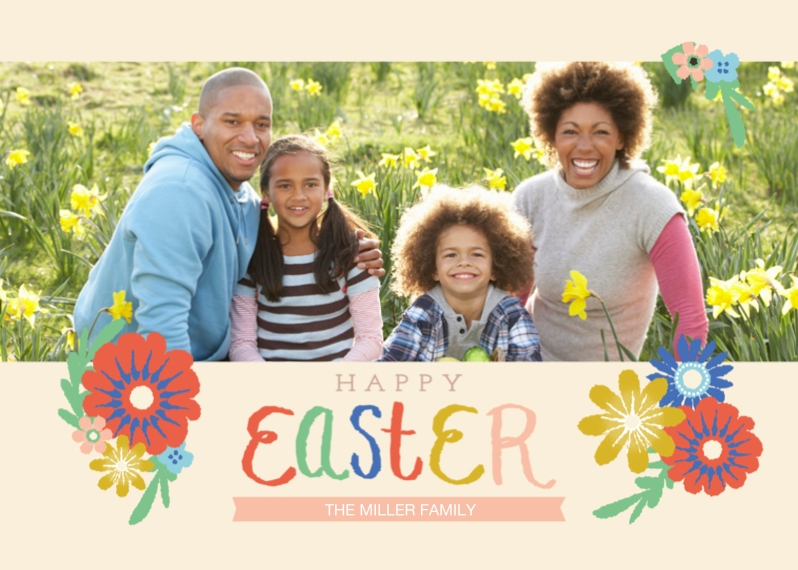 Easter Cards 5x7 Folded Cards, Standard Cardstock 85lb, Card & Stationery -Happy Easter Script