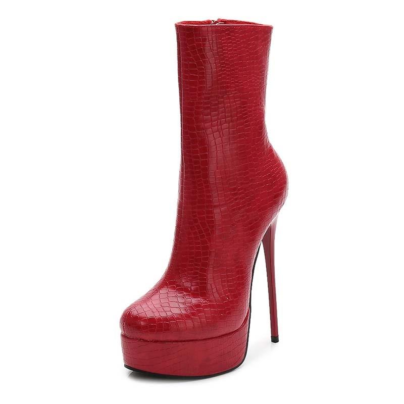 Ericdress PU Round Toe Platform Stiletto Heel Women's Ankle Boots