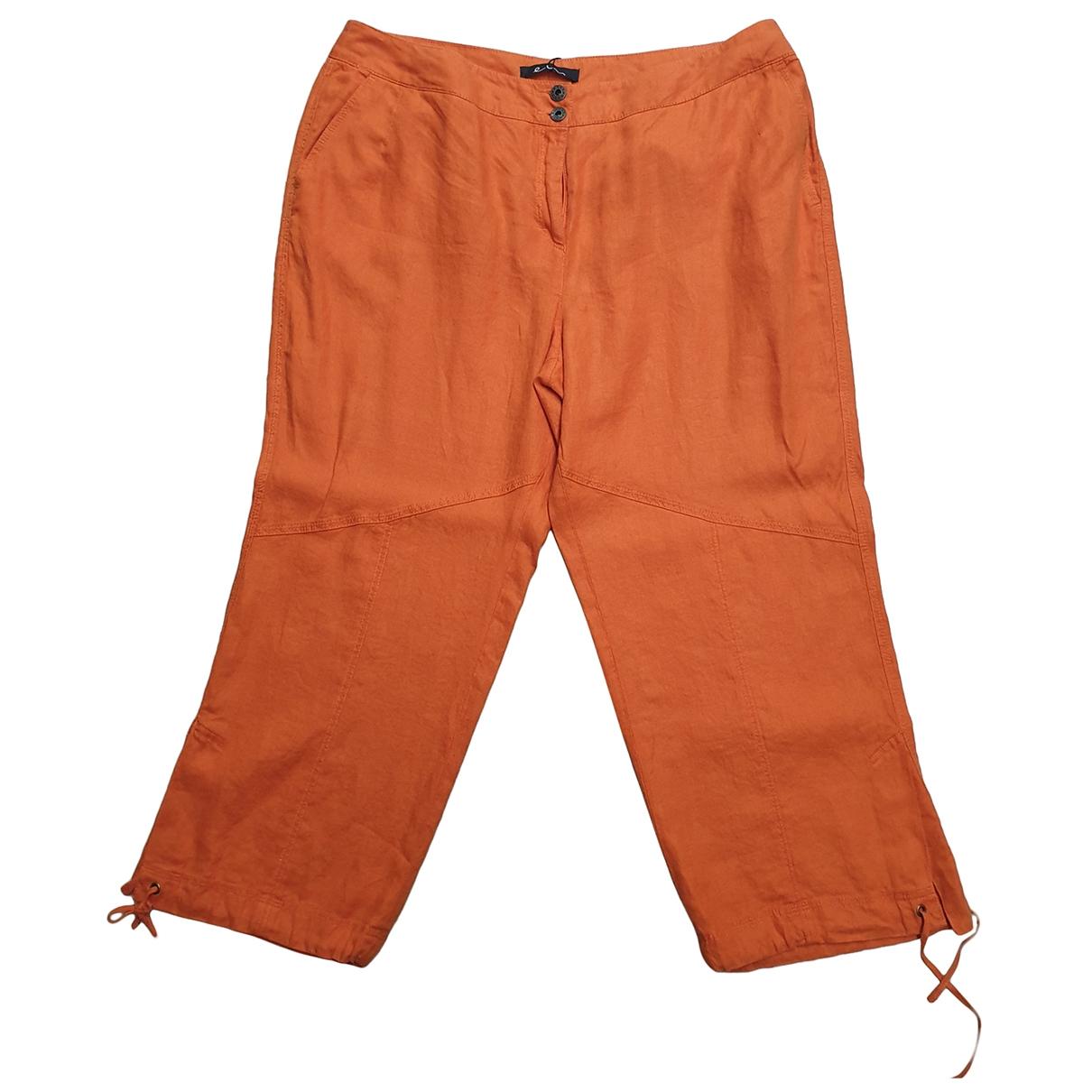Elena Miro \N Orange Linen Trousers for Women 54-56 IT