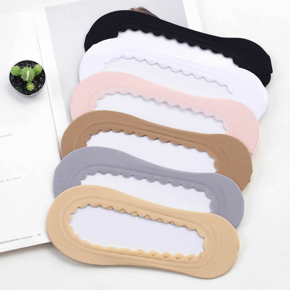 Female Skidproof Silicone Bottom Lace Material Elastic Breathable Invisible Solid Pattern Boat Socks