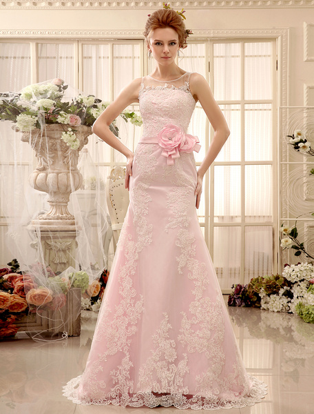 Milanoo Flower Panel Train Pink Lace Wedding Dress For Bride with Sheath Jewel Neck