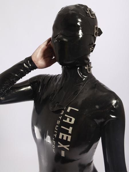 Milanoo Halloween Black Buckle Unisex Catsuits & Zentai Hood Halloween