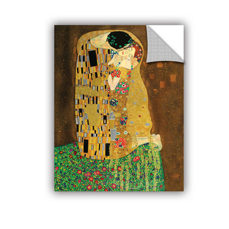 Brushstone The Kiss By Gustav Klimt Removable Wall Decal, One Size , Brown