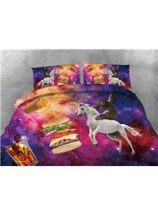 Sloth Unicorn and Hamburger Galaxy Printing 3D 5-Piece Comforter Sets