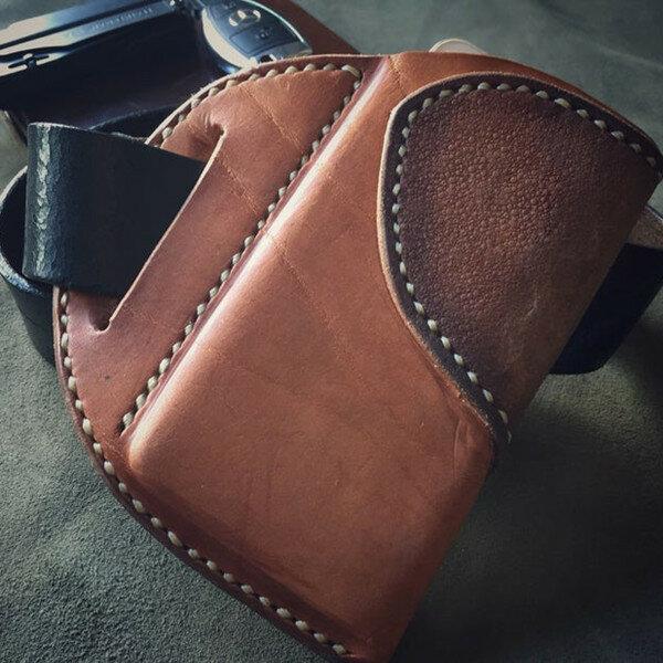 Men EDC Genuine Leather 6.5 Inch Phone Holder Sleeve Case Waist Belt Sheath