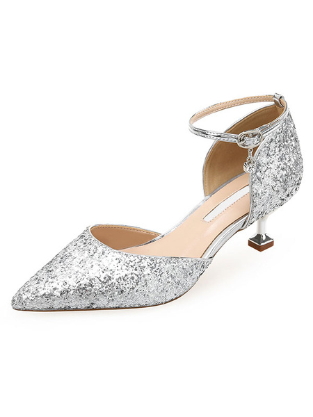Milanoo Woman\'s Kitten Heels Chic Pointed Toe Sequin Fantastic Evening Shoes For Party