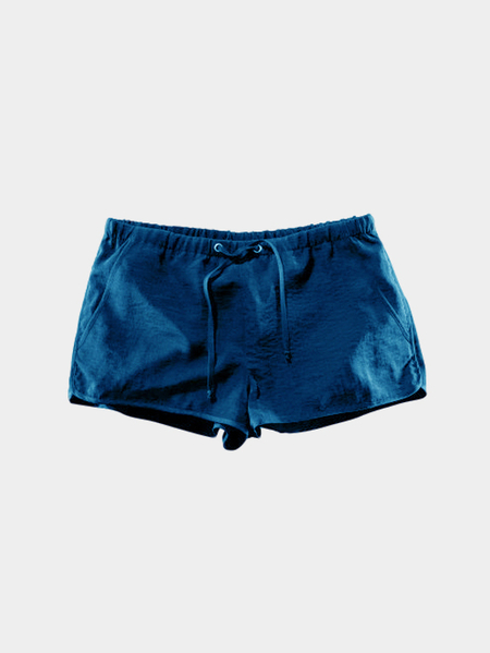 Yoins Blue Drawstring Waist Casual Shorts with Side Pockets