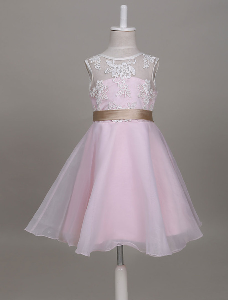 Milanoo Vestidos de niña de flores Organza Lace Ribbon Sash Soft Pink Niños Vestidos de fiesta cortos