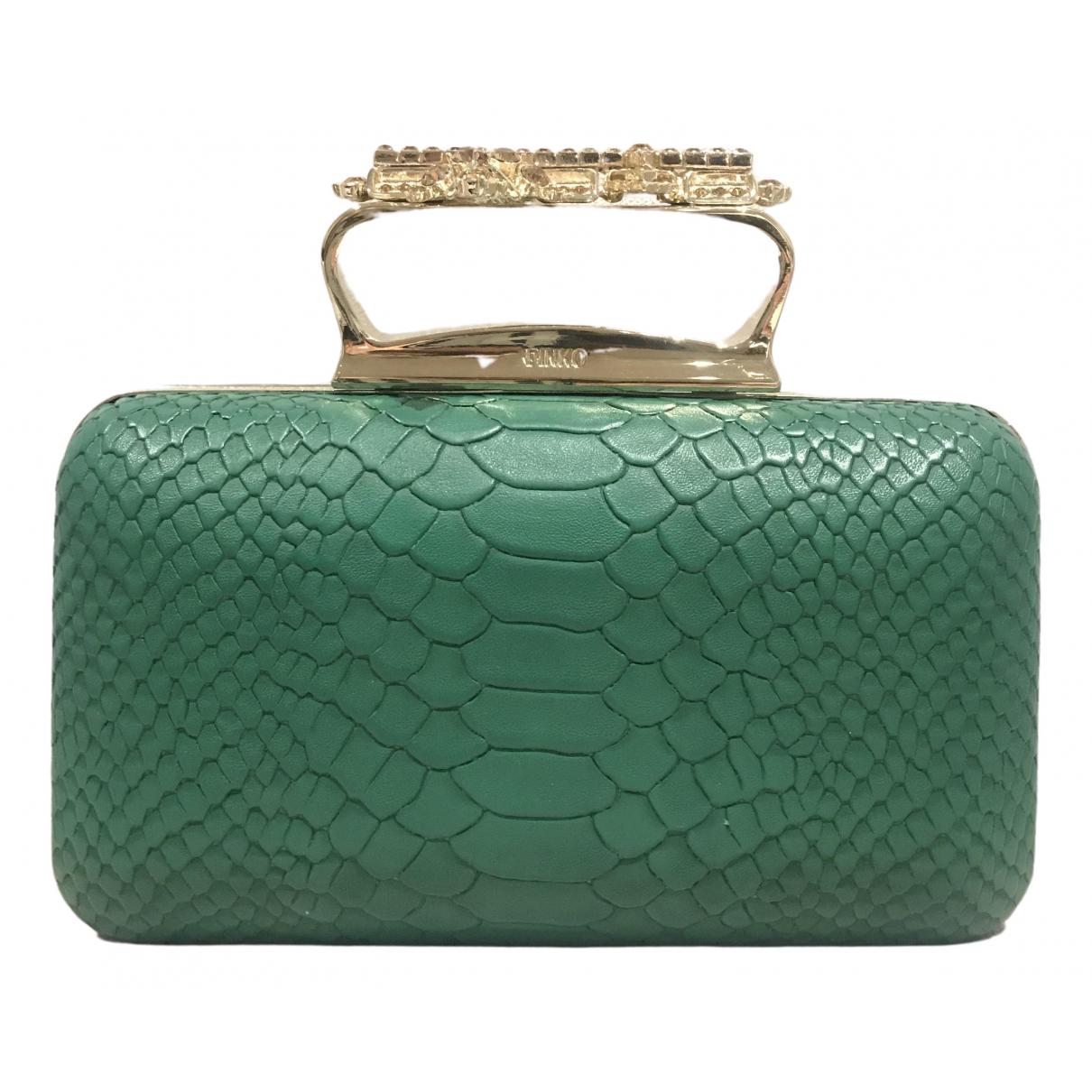 Pinko \N Green Leather Clutch bag for Women \N