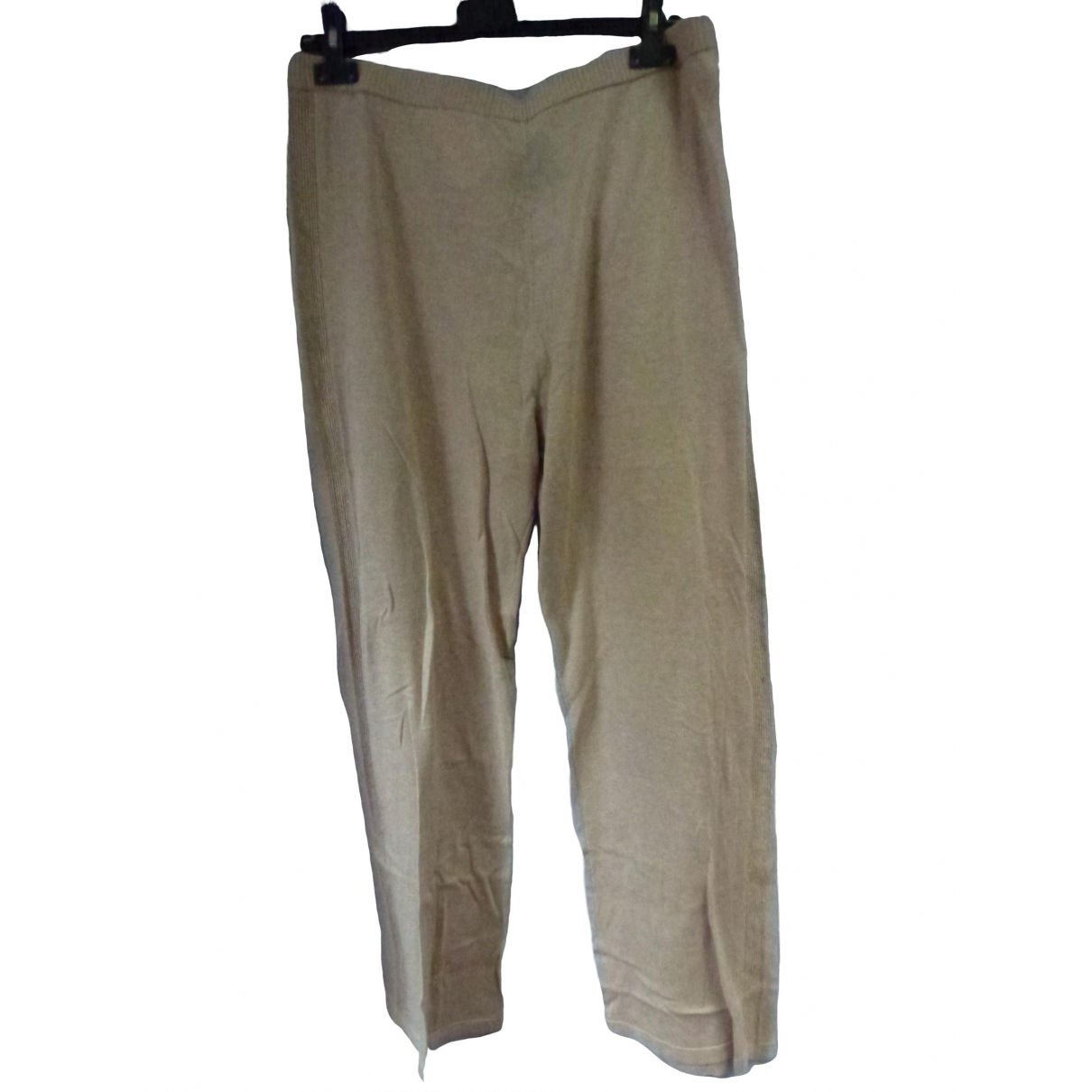 Non Signé / Unsigned \N Beige Wool Trousers for Women 46 FR
