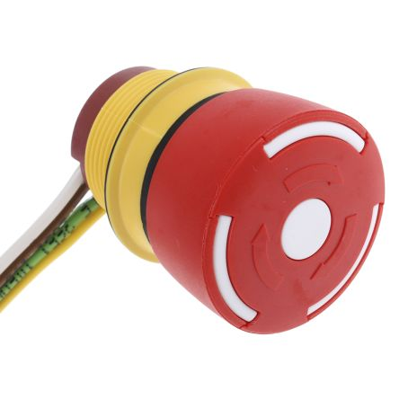 EAO Panel Mount Mushroom Head Emergency Button - NO/NC, Twist to Reset, 32mm, 22.5mm, Red