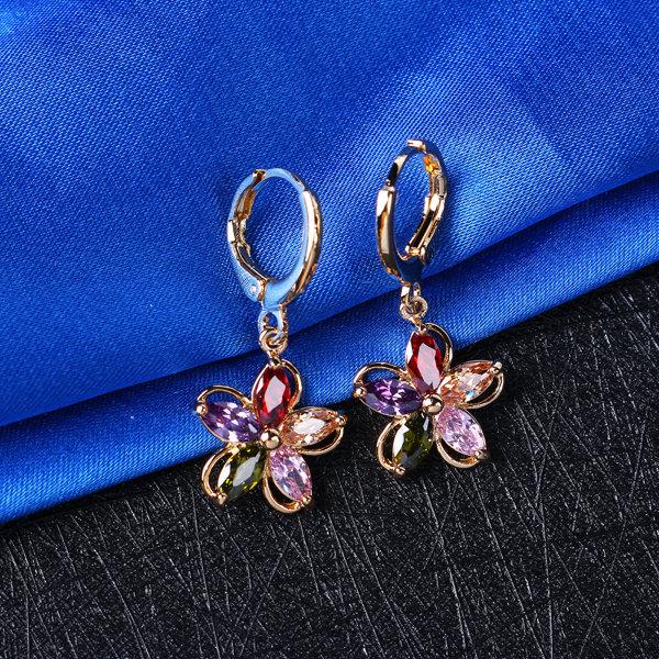 Fashion Zirconia Crystal Flower Earrings Gold Plated Colorful Hoop Earrings for Women
