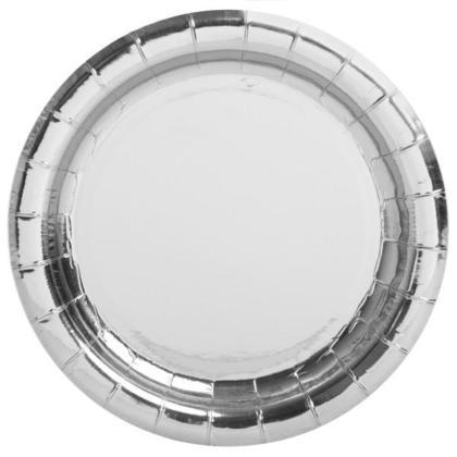 Paper Dessert Round Plate Foil Silver 7