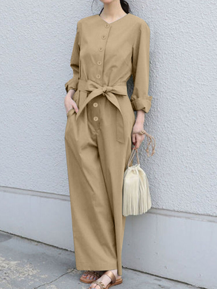 Casual Solid Color O-neck Long Sleeve Jumpsuit with Bowknot Belt