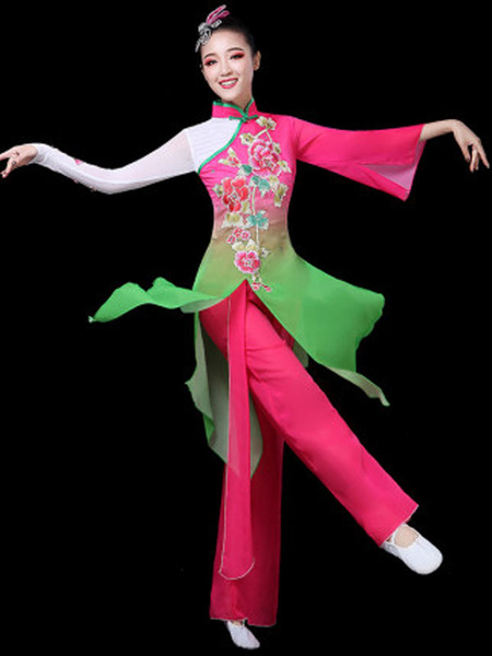 Milanoo Traditional Chinese Dance Costumes Asian Carnival Costumes 2 Piece Outfit