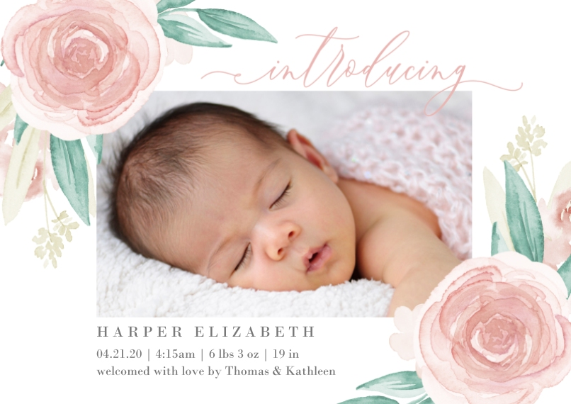 Baby Girl Announcements Flat Glossy Photo Paper Cards with Envelopes, 5x7, Card & Stationery -Floral Introducing
