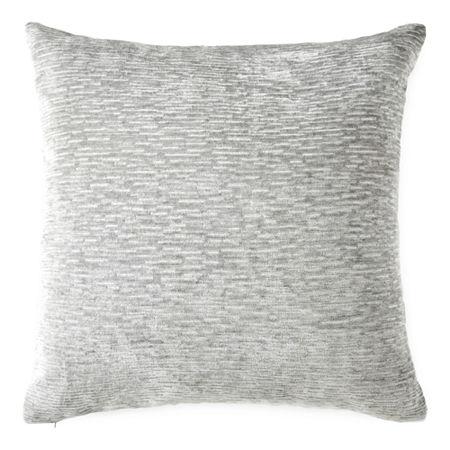 Stria Chenille Square Throw Pillow, One Size , Gray