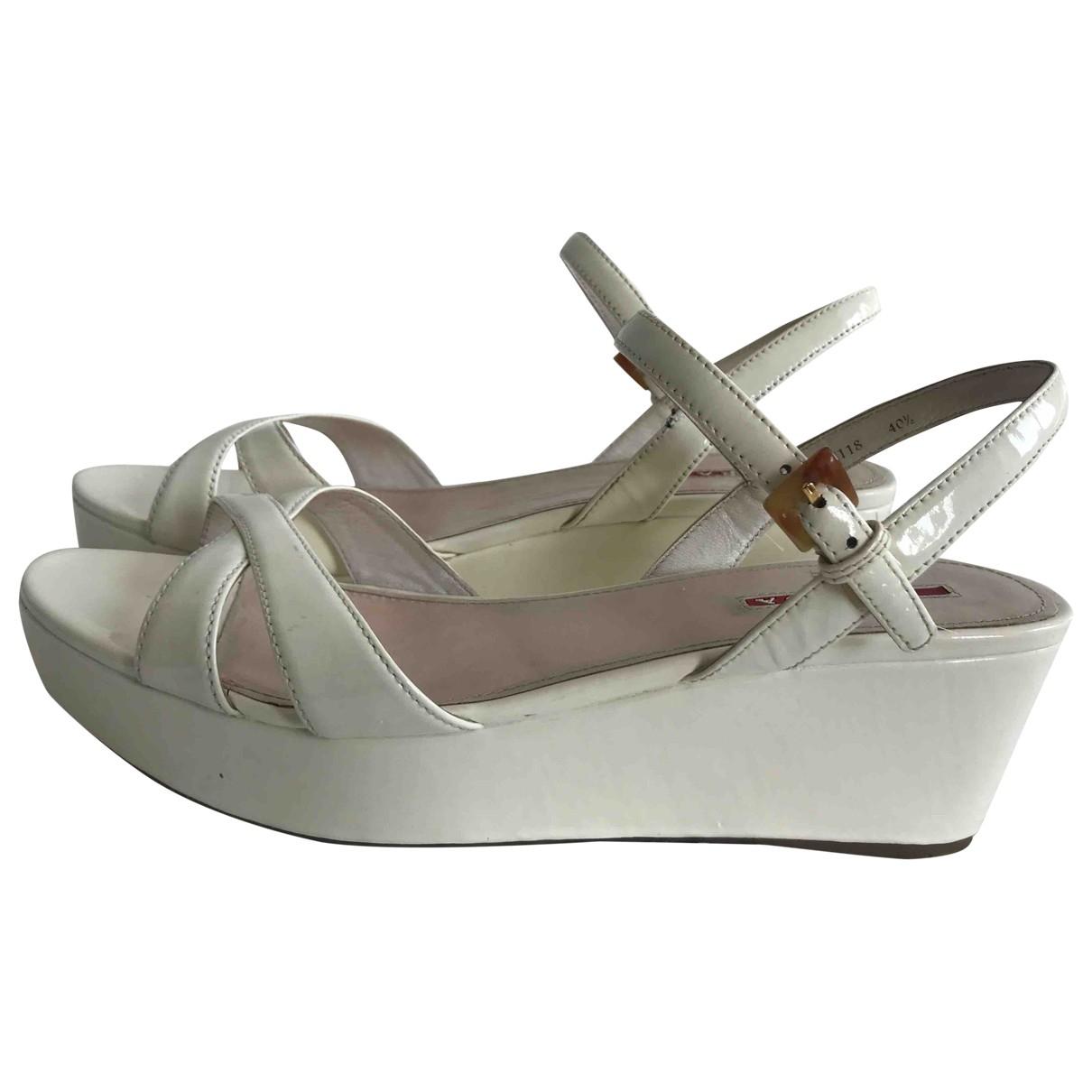 Prada \N White Patent leather Sandals for Women 40 EU
