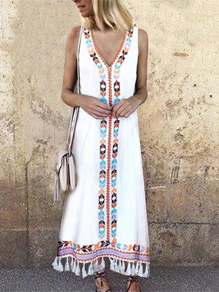 Women Bohemian Printed V-neck Sleeveless Tassels Dress