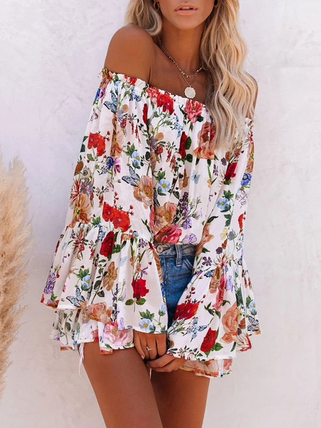 Milanoo Blouse For Women White Floral Print Off-The-Shoulder Casual Long Sleeves Tops