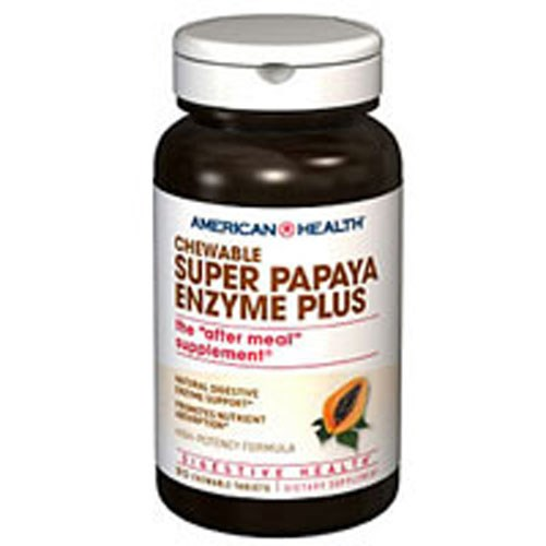 Super Papaya Enzyme Plus 90 Chewable Wafers by American Health