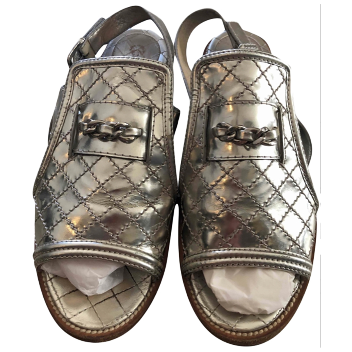 Chanel \N Silver Leather Sandals for Women 39.5 EU