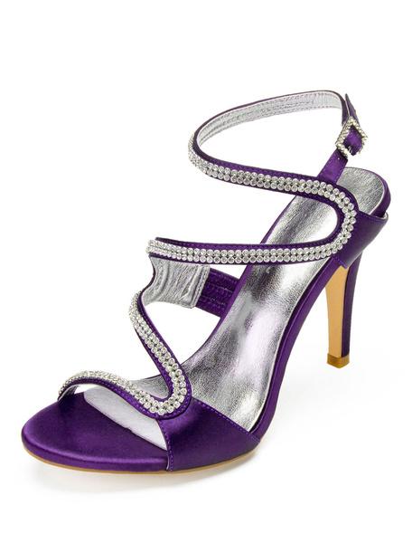 Milanoo Blue Crystal Wedding Shoes Mother Shoes Satin Rhinestones Strappy Bridal High Heel Sandals