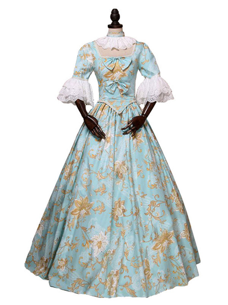 Milanoo Victorian Dress Costume Women's Light Sky Blue Rococo Retro Floral Print Marie Antoinette Victorian era Style Vintage Clothing