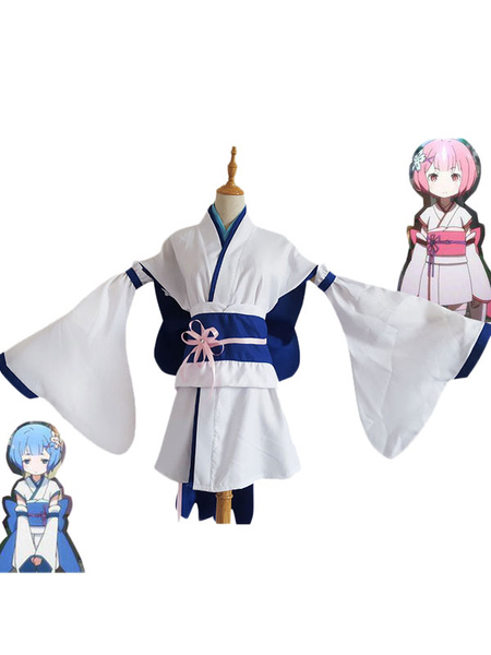 Milanoo Re Zero Starting Life In Another World Rem Kimono Cosplay Costume Young Rem Cosplay Halloween