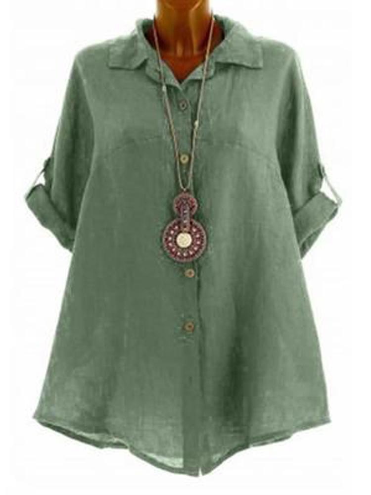 Women Casual Lapel Pure Color 3/4 Sleeve Blouse