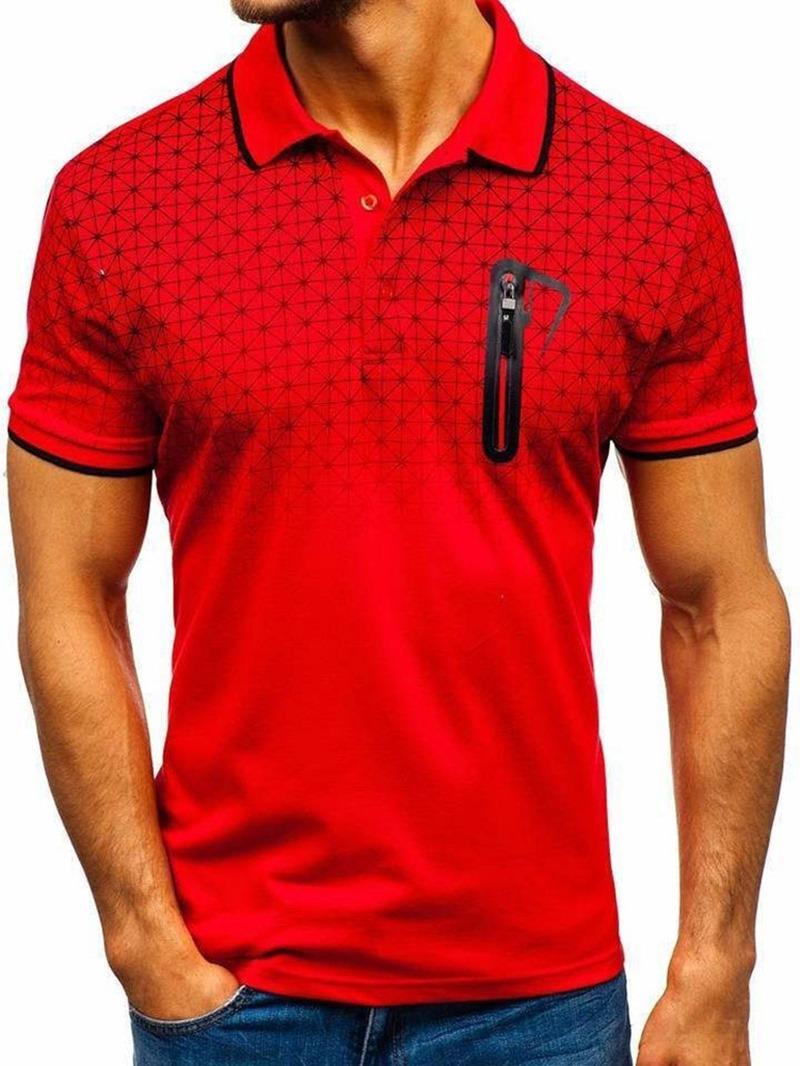 Ericdress Patchwork Plaid Mens Polo Shirt