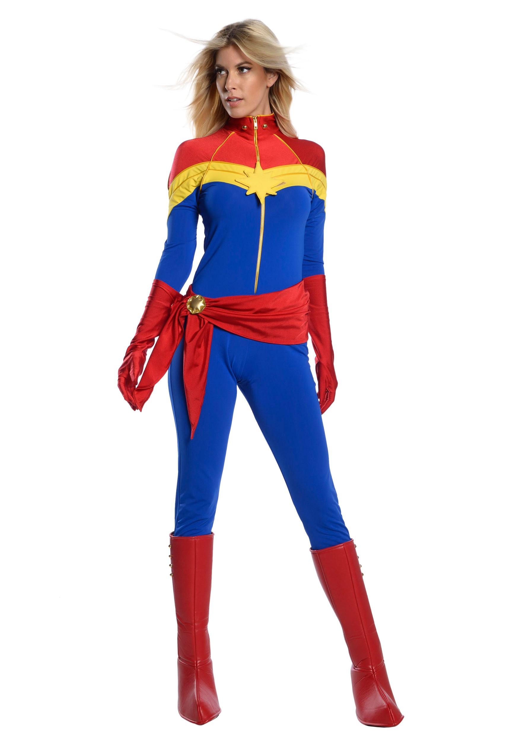 Captain Marvel Women's Premium Comic Book Costume