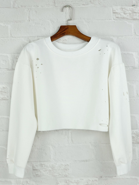 Yoins White Long Sleeves Round Neck Hole Cropped Sweatshirt