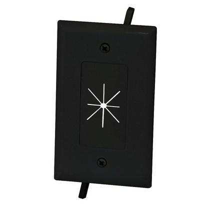 Plaque de câble avec ouverture flexible noir / blanc / amande lite, 1 gang / 2 gangs - Monoprice® - noir, 1 Band