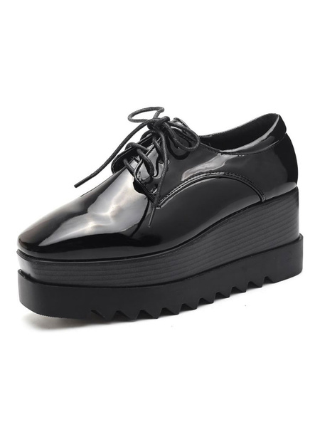 Milanoo Black Oxfords Wedge Heel Platform Lace Up Shoes Women Square Toe Sneakers