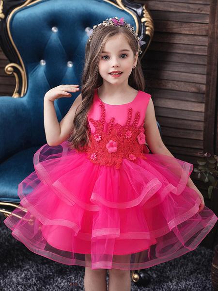 Milanoo Flower Girl Dresses Jewel Neck Tulle Sleeveless Knee Length Princess Silhouette Beaded Kids Party Dresses