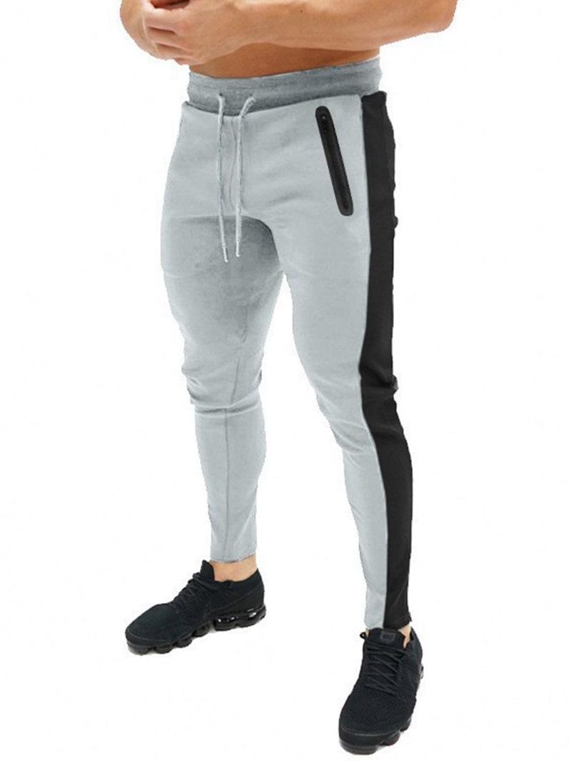 Ericdress Pencil Pants Color Block Patchwork Lace-Up Mid Waist Men's Casual Pants