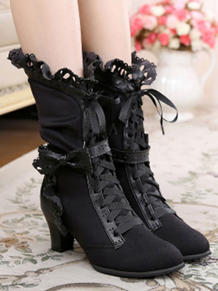Milanoo Rococo Lolita Ankle Boots Round Toe Prism Heel Lace Up Bows White Lolita Winter Booties