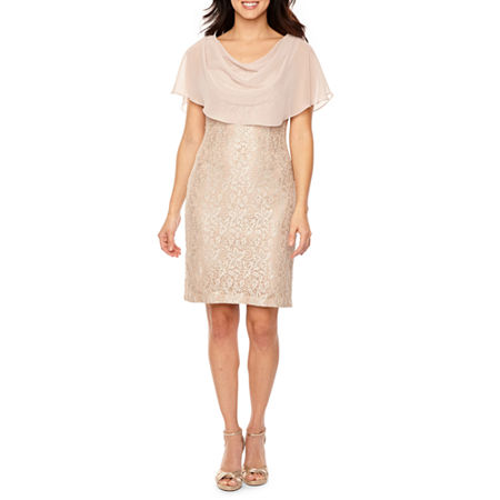 Jessica Howard Short Sleeve Sheath Dress, 6 , Yellow
