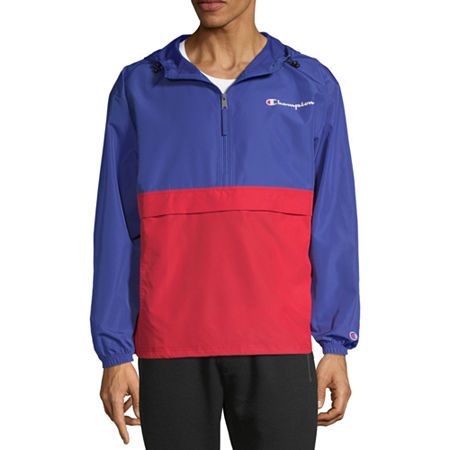Champion Colorblock Packable Hooded Lightweight Windbreaker, Large , Blue