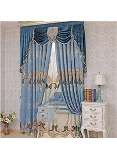 European ans Noble Navy Blue Chenille Custom Window Curtain for Living Room