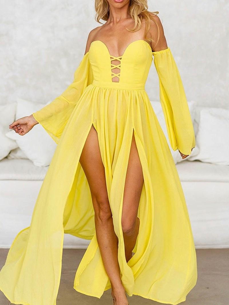 Ericdress Pleated Long Sleeve Off Shoulder Mid Waist Flare Sleeve Dress