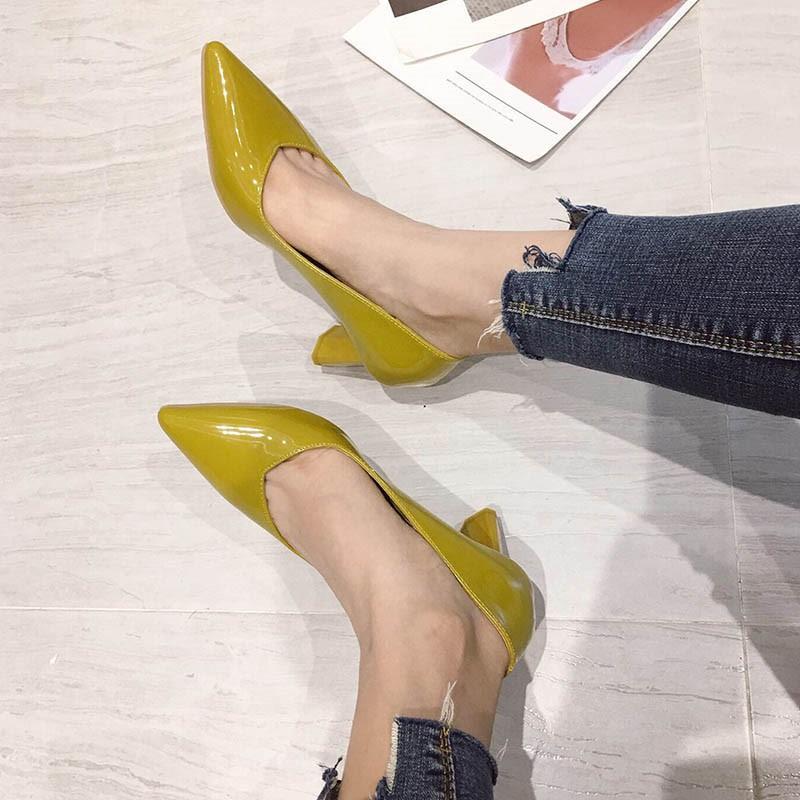 Ericdress Plain Chunky Heel Slip-On Pointed Toe Women's Pumps