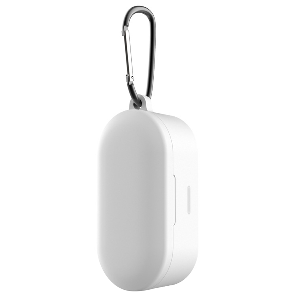 Flexible Silicone Storage Case Shockproof Dustproof with Hook for QCY T1S/T2C/T2S TWS Earbuds Charging Case- White