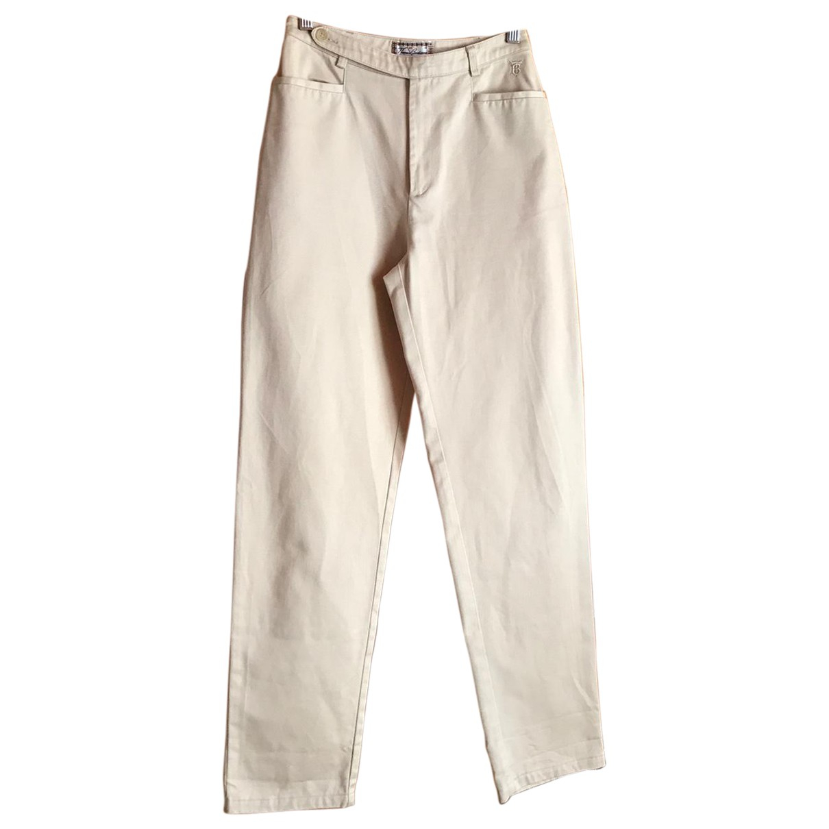 Burberry \N Camel Cotton Trousers for Women 38 FR