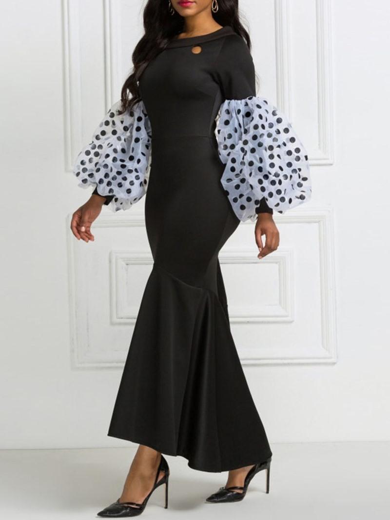 Ericdress Long Sleeve Round Neck Asymmetric Women's Sweet Dress
