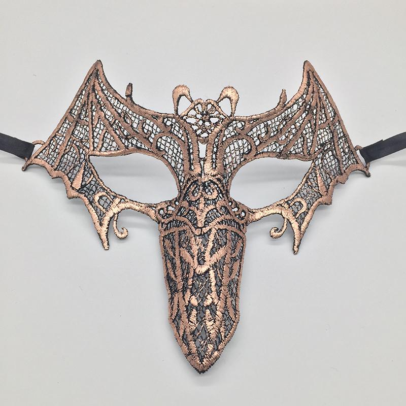 Bat Beak Hollow Lace Halloween Masquerade Mask Pink